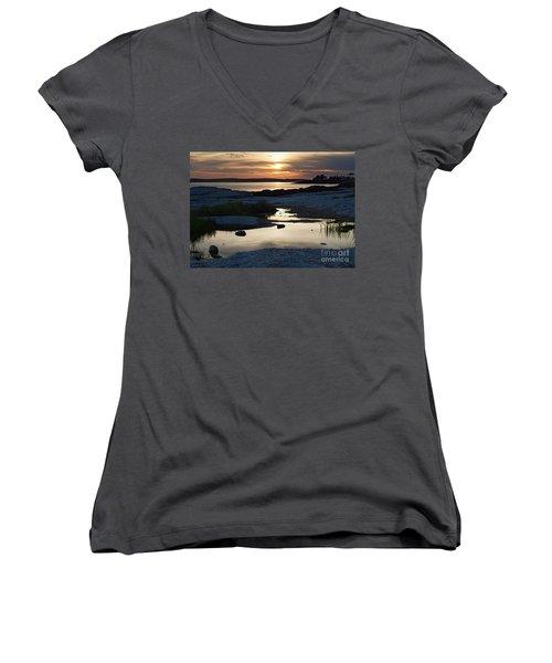 Ocean Point Sunset In East Boothbay Maine  -23091-23093 Women's V-Neck