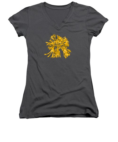 Women's V-Neck T-Shirt (Junior Cut) featuring the mixed media Ocean Seaweed Plant Art Rhodomenia Sobolifera Square by Christina Rollo