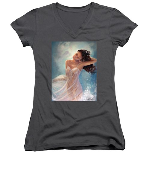 Women's V-Neck T-Shirt (Junior Cut) featuring the painting Ocean Serenade by Michael Rock