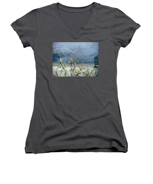 Ocean Spring Women's V-Neck T-Shirt (Junior Cut) by Robert Nickologianis