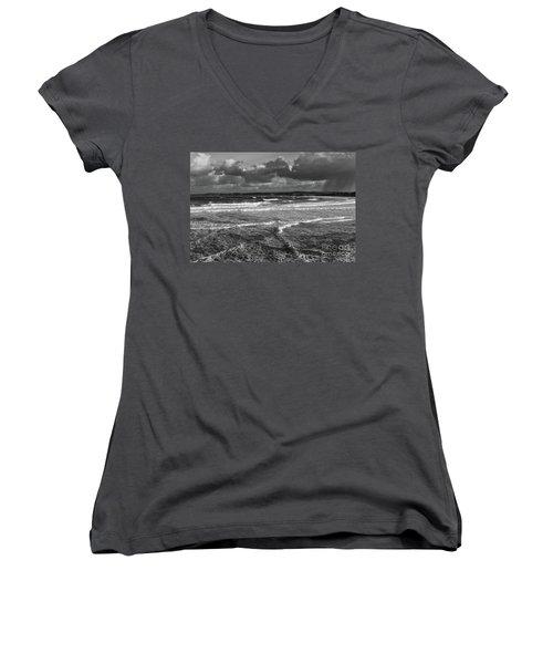 Ocean Storms Women's V-Neck T-Shirt (Junior Cut) by Nicholas Burningham