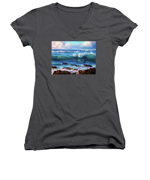 Coastal Ocean Sunset At Turtle Bay, Oahu Hawaii Beach Seascape Women's V-Neck