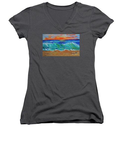 Ocean Sunset Women's V-Neck T-Shirt (Junior Cut) by Haleh Mahbod