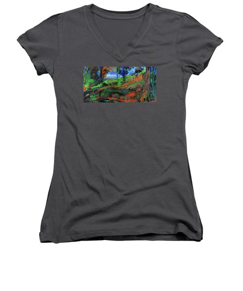 Women's V-Neck T-Shirt featuring the painting Ocean View Through The Forest by Walter Fahmy
