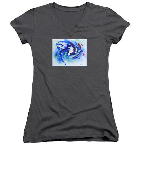 Ocean Wave Watercolor Women's V-Neck