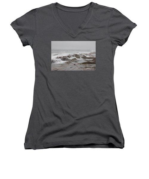 Ocean Waves Over Rocks Women's V-Neck