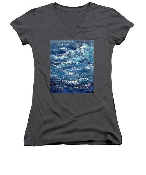 Ocean's Blue Women's V-Neck T-Shirt