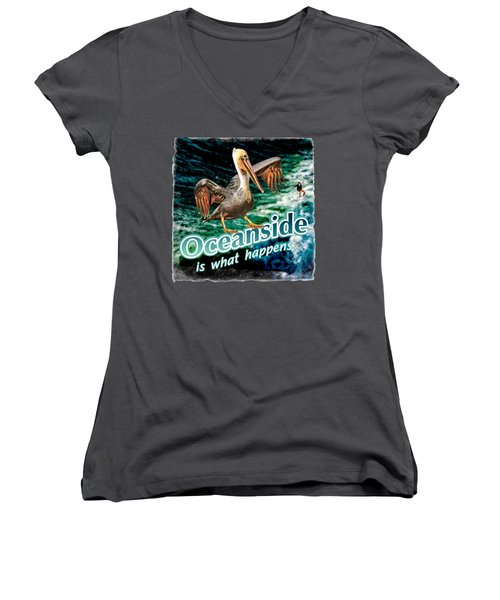 Oceanside Happens Women's V-Neck (Athletic Fit)