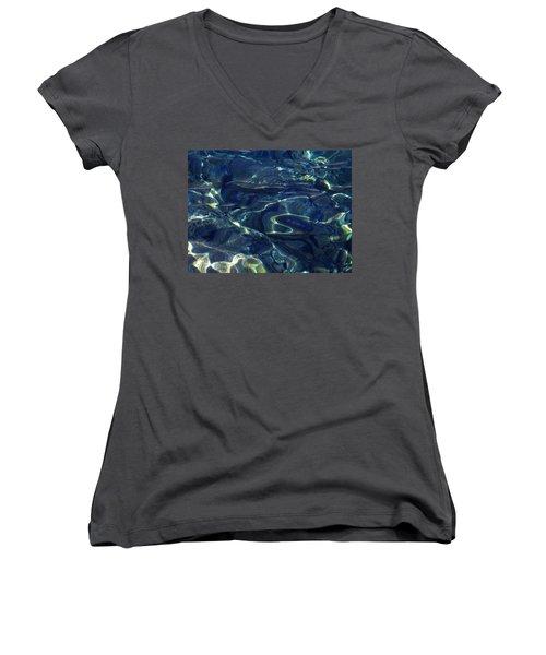 Women's V-Neck T-Shirt (Junior Cut) featuring the photograph Ocean Water Reflections.santorini Island Greece by Colette V Hera  Guggenheim