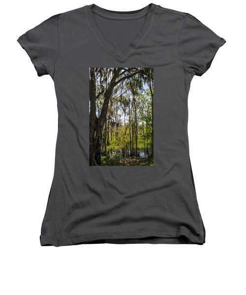 Women's V-Neck T-Shirt (Junior Cut) featuring the photograph Ocklawaha Spanish Moss In The Swamp by Deborah Smolinske