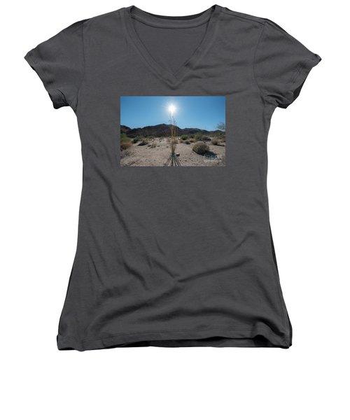 Ocotillo Glow Women's V-Neck T-Shirt (Junior Cut) by Robert Loe