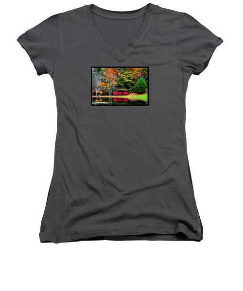 Women's V-Neck T-Shirt (Junior Cut) featuring the photograph October Afternoon In The Blue Ridge Mountains by Susanne Still