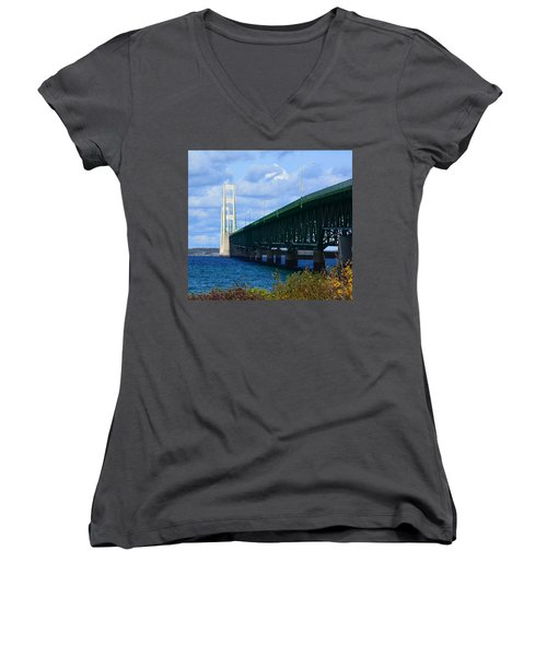 October At The Straits Of Mackinac Women's V-Neck T-Shirt