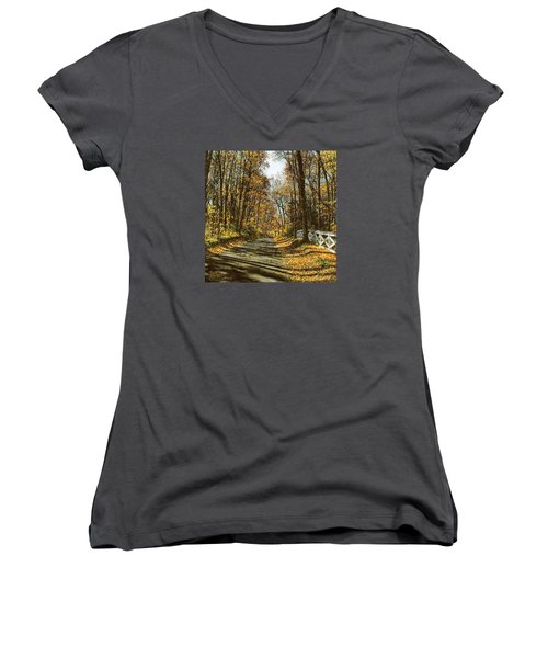 Women's V-Neck T-Shirt (Junior Cut) featuring the painting October Backroad by Doug Kreuger
