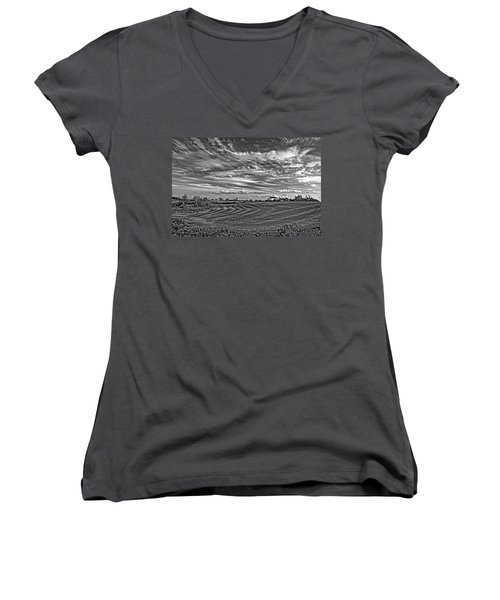 October Patterns Bw Women's V-Neck T-Shirt (Junior Cut) by Steve Harrington