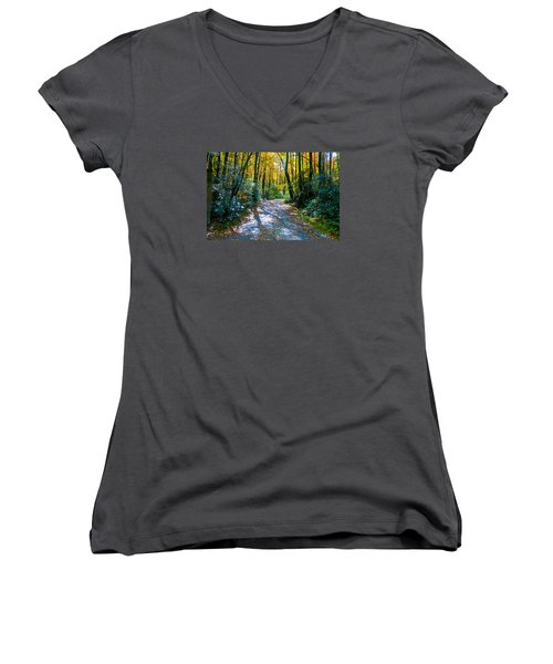 October's Path Women's V-Neck T-Shirt (Junior Cut) by Allen Carroll