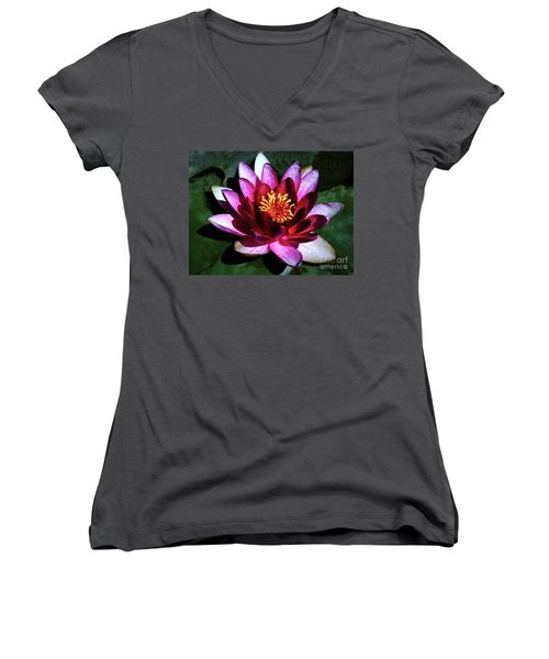 Women's V-Neck T-Shirt (Junior Cut) featuring the photograph Ode To The Water Lily by Polly Peacock