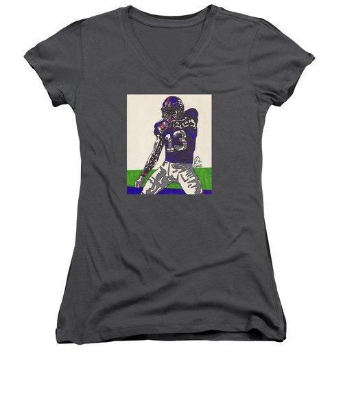 Odell Beckham Jr  Women's V-Neck T-Shirt (Junior Cut) by Jeremiah Colley