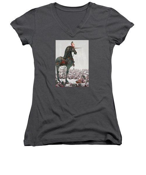 Women's V-Neck T-Shirt (Junior Cut) featuring the digital art Offering by Te Hu