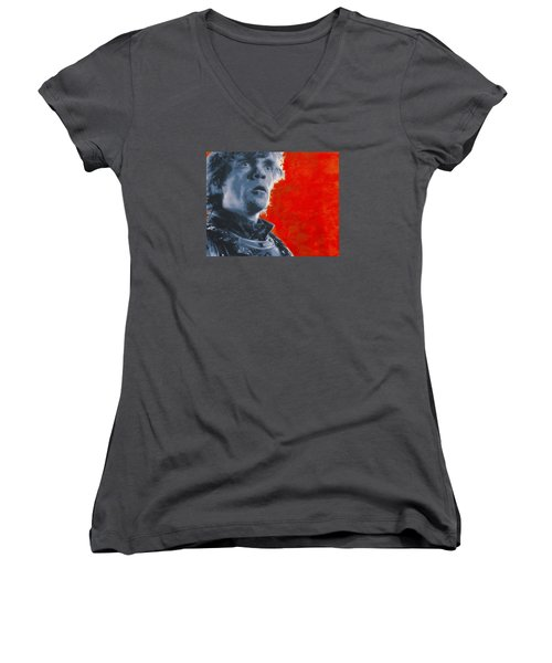 Women's V-Neck T-Shirt (Junior Cut) featuring the painting Tyrion Lannister by Luis Ludzska