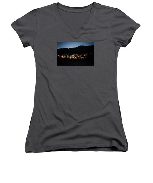 Women's V-Neck T-Shirt (Junior Cut) featuring the digital art Oh Those Trees by Phil Mancuso