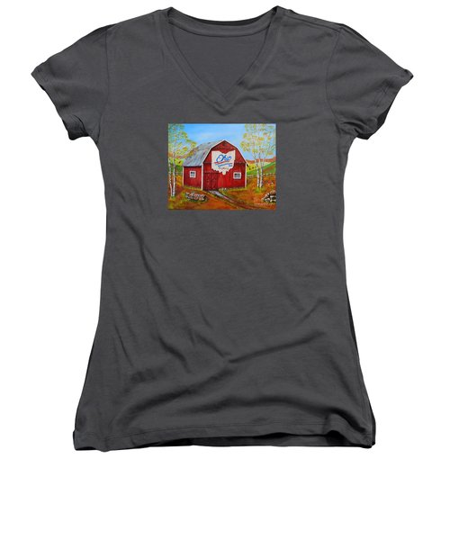 Ohio Bicentennial Barns 2 Women's V-Neck (Athletic Fit)