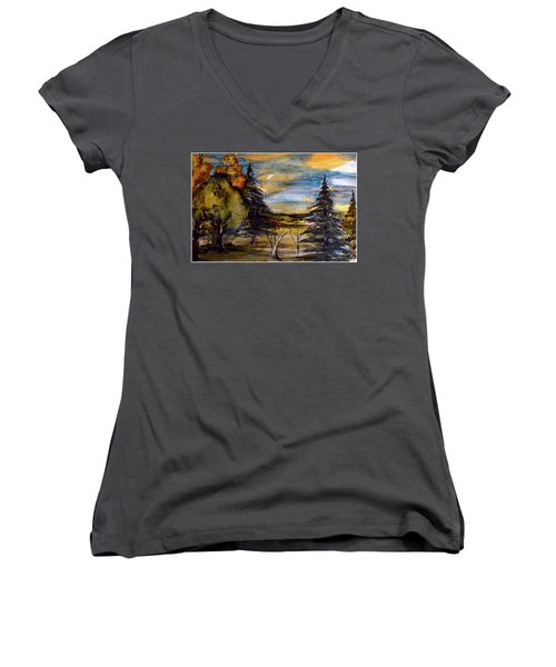 Women's V-Neck T-Shirt (Junior Cut) featuring the painting Ohio Sunset by Mindy Newman