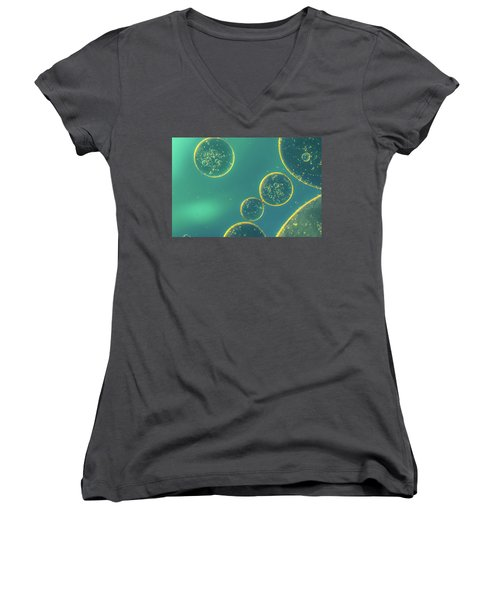Women's V-Neck T-Shirt (Junior Cut) featuring the photograph Oil And Water by The 3 Cats