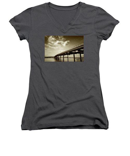 Oil Bridge II Women's V-Neck T-Shirt (Junior Cut) by Joseph Westrupp