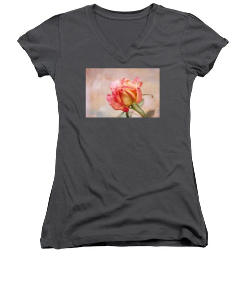 Women's V-Neck T-Shirt (Junior Cut) featuring the photograph Oil Painted Rose by Joan Bertucci