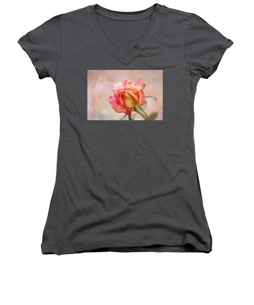 Oil Painted Rose Women's V-Neck T-Shirt (Junior Cut) by Joan Bertucci