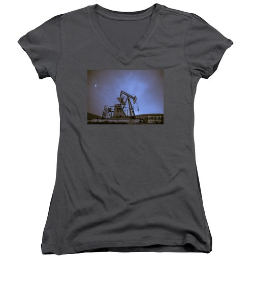 Oil Rig And Stars Women's V-Neck (Athletic Fit)