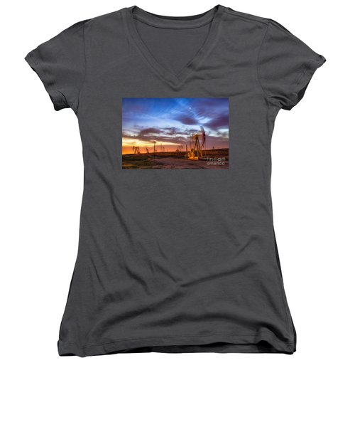 Oil Rigs 3 Women's V-Neck (Athletic Fit)