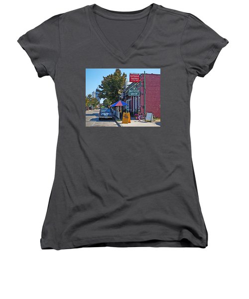Ok Bicycle Yellow Sign Women's V-Neck