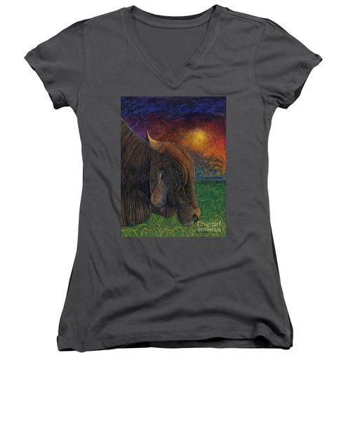 Okeechobee Brahman Women's V-Neck T-Shirt (Junior Cut) by David Joyner