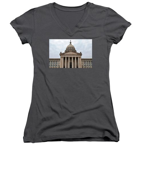 Oklahoma State Capitol - Front View Women's V-Neck T-Shirt