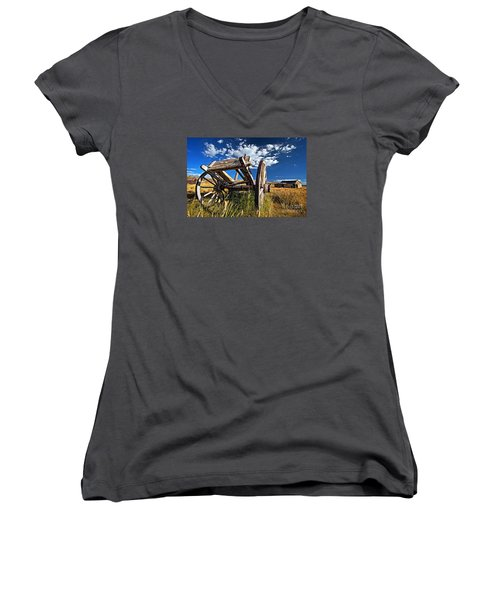 Old Abandoned Wagon, Bodie Ghost Town, California Women's V-Neck T-Shirt (Junior Cut) by Sam Antonio Photography