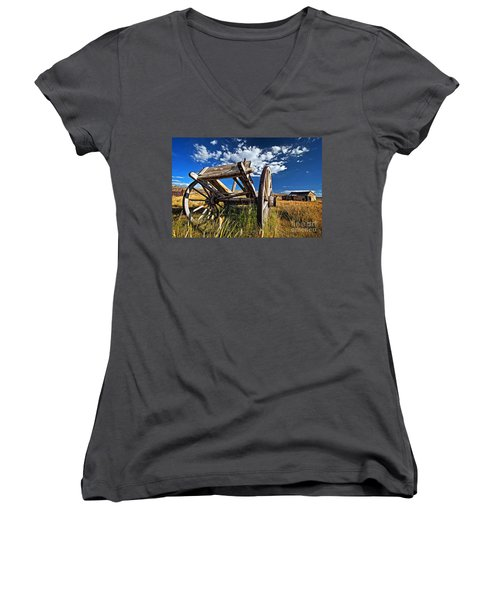 Old Abandoned Wagon, Bodie Ghost Town, California Women's V-Neck