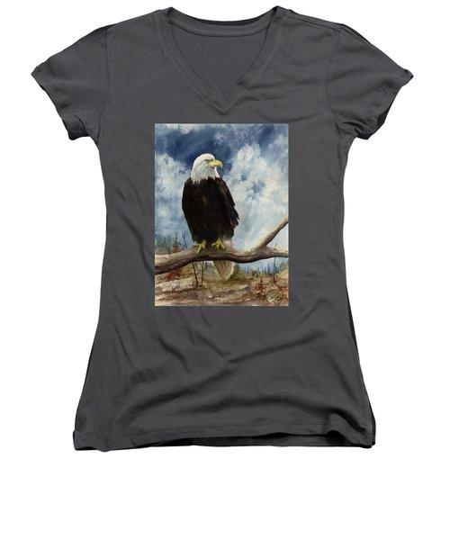 Old Baldy Women's V-Neck T-Shirt (Junior Cut) by Sam Sidders