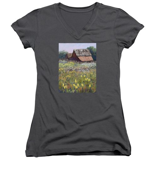 Women's V-Neck T-Shirt (Junior Cut) featuring the painting Old Barn In Spring by Nancy Jolley