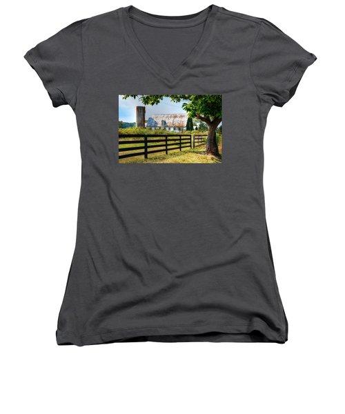 Old Barn Women's V-Neck T-Shirt (Junior Cut) by Ronda Ryan