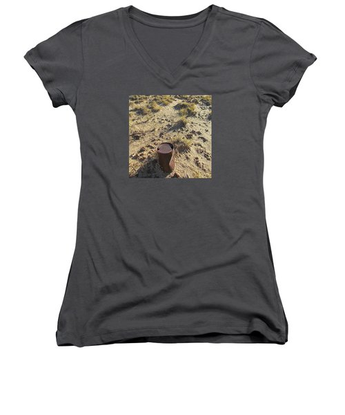 Women's V-Neck T-Shirt (Junior Cut) featuring the photograph Old Beer Can by Brenda Pressnall