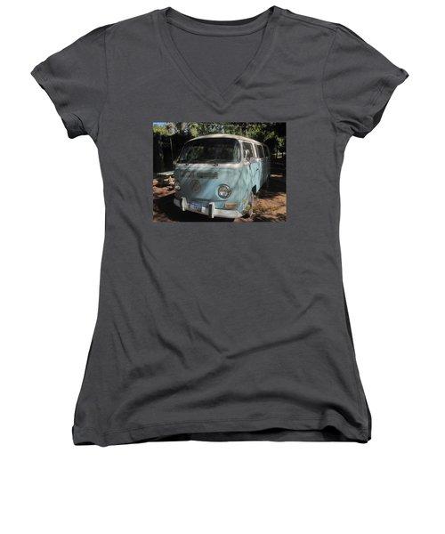 Old Beetle Bug Women's V-Neck T-Shirt (Junior Cut) by Paul Meinerth
