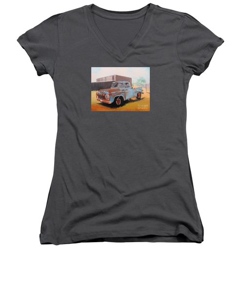 Old Blue Ford Truck Women's V-Neck T-Shirt (Junior Cut)