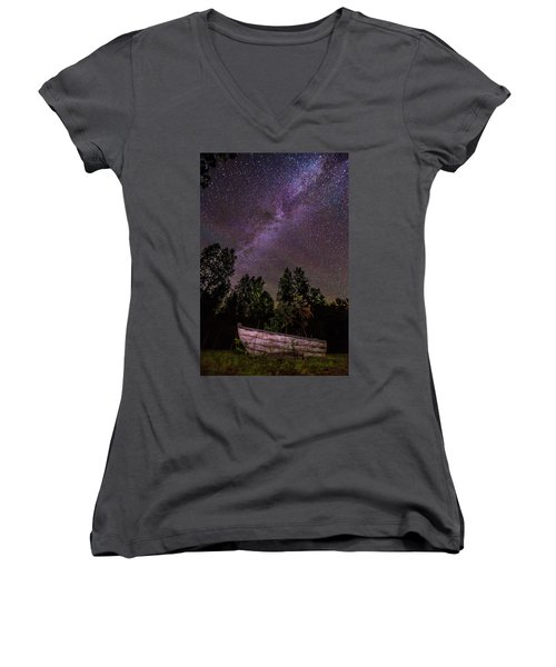 Old Boat Under The Stars Women's V-Neck (Athletic Fit)