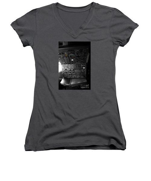 Old Boeing 727 Cockpit Women's V-Neck T-Shirt (Junior Cut) by Micah May