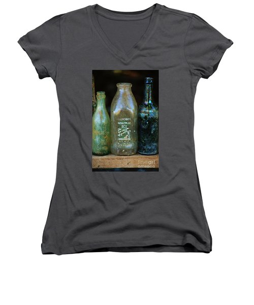 Women's V-Neck T-Shirt (Junior Cut) featuring the photograph Old Bottles Hawaii by Craig Wood