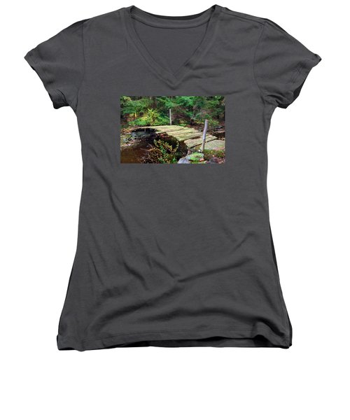 Women's V-Neck T-Shirt (Junior Cut) featuring the photograph Old Bridge by Francesa Miller