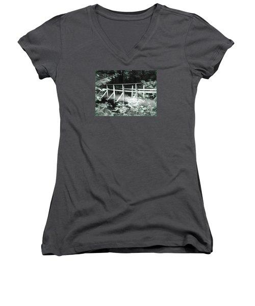 Old Bridge In The Woods Women's V-Neck T-Shirt (Junior Cut) by Rena Trepanier