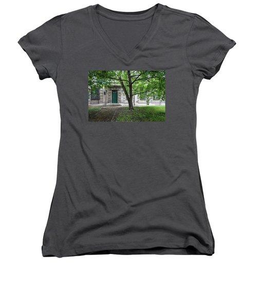 Old Building Exterior Women's V-Neck T-Shirt (Junior Cut) by Teemu Tretjakov